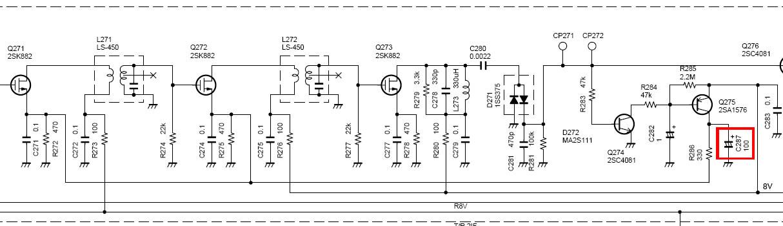 Вот конденсатор C287 на